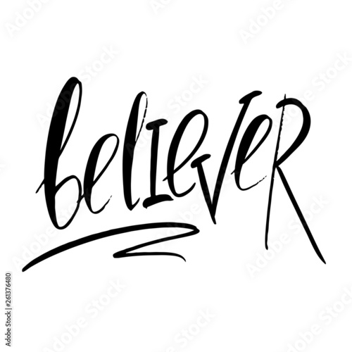 Canvastavla Believer  word - concept lettering logo