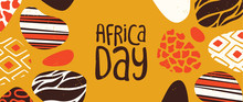 Happy Africa Day Banner Of Tribal African Art