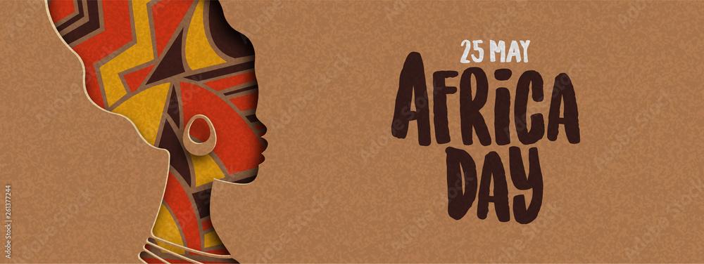 Fototapeta Happy Africa Day banner of african papercut woman