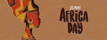 Happy Africa Day Banner Of African Papercut Woman