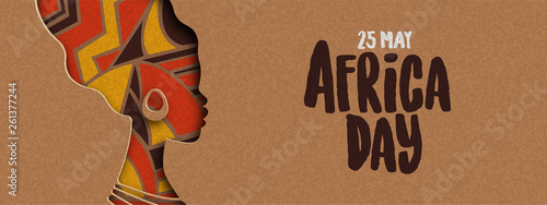 Happy Africa Day banner of african papercut woman - fototapety na wymiar