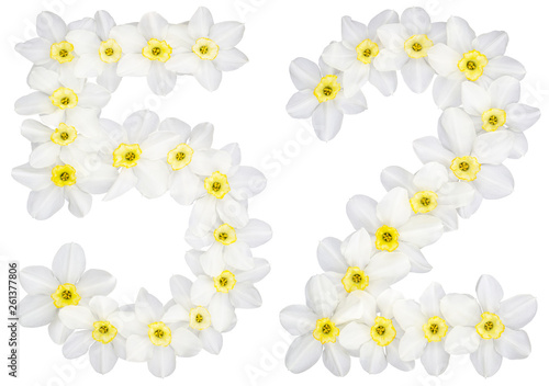 Wall Murals Plumeria Numeral 52, fifty two, from natural white flowers of Daffodil (narcissus), isolated on white background
