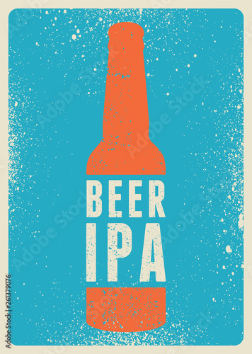 Photo Beer Ipa typographical vintage style grunge poster design