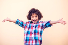 Young Boy Kid Shows Hugs With Open Arms