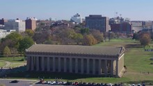 Aerial: Parthenon, Nashville Beautiful Sunny Day, Tennessee.