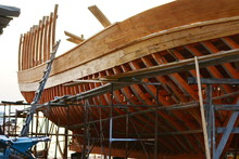 Construction Of A Ship In Ierissos, Greece. Little Shipyard Of Wooden Ships.