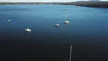 Aerial View Of Sailboats Anchored In A Bay In Acadia, Maine, Slow Forward Motion