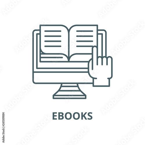 Ebooks line icon, vector  Ebooks outline sign, concept
