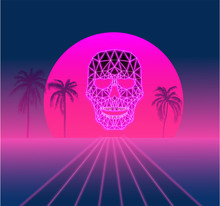 Purple And Pink Spectrum Background With Palm Trees And Skull, Vaporwave Style.
