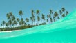SLOW MOTION: Crystal clear ocean water flows over camera filming tropical beach.