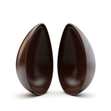Two Halves Of A Chocolate Easter Egg Split Apart. 3D Render