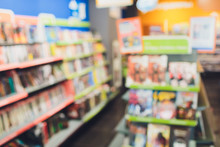 Abstract Blur And Defocused Library And Book Comics Store Shop Interior For Background.