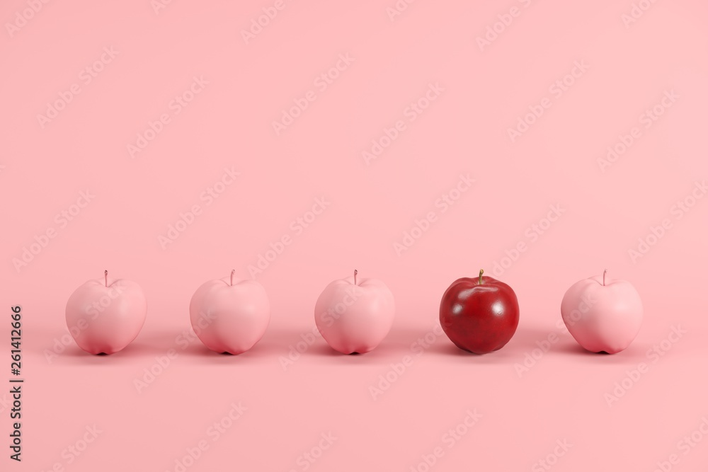 Fototapety, obrazy: Outstanding red apple among pink painted apples on pastel pink background. Minimal fruit idea concept.