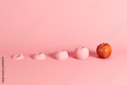 Outstanding fresh red apple and slices of apple painted in pink on pink background. Minimal fruit idea concept. - 261412879