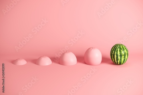 Outstanding fresh watermelon and slices of watermelon painted in pink on pink background Фотошпалери