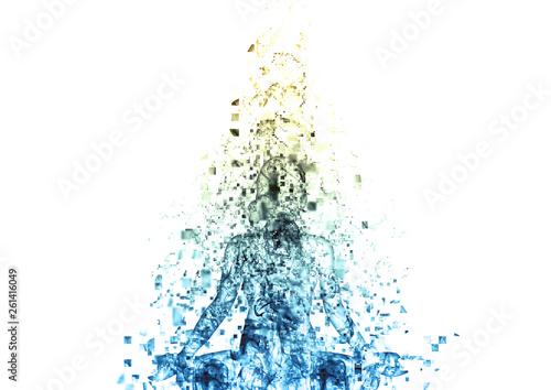 Tablou Canvas 瞑想する女性のシルエット