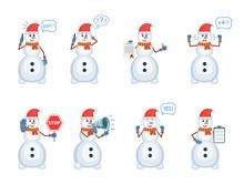 Set Of Christmas Snowman Chara...