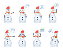 Set Of Christmas Snowman Characters Posing In Different Situations. Cheerful Snowman Talking On Phone, Thinking, Pointing Up, Laughing, Crying, Tired, Full Of Energy. Flat Style Vector Illustration