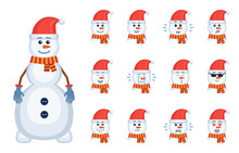Set Of Christmas Snowman Emoticons. Avatars Of A Snowman Showing Different Facial Expressions. Happy, Sad, Laugh, Angry, Tired, Shocked, In Love And Other Emotions. Flat Style Vector Illustration