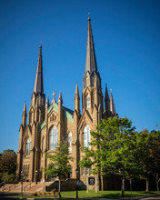 St. Dunstan's Basilica Cathedral, National Historic Site Of Canada In The Sunny Day In Charlottetown, Prince Edward Island