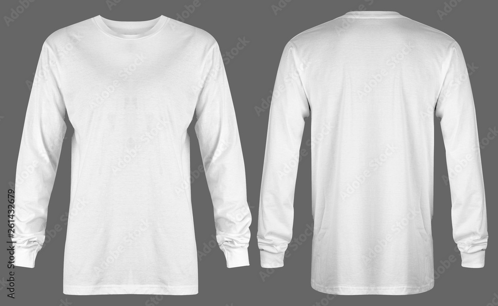 Fototapety, obrazy: Blank white t shirt long sleeve isolated on grey background. ready for your mock up design or presentation your project