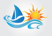 Sun And Waves Boat Logo Vector