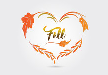 Autumn Heart Shape From Falling Leaves Vector