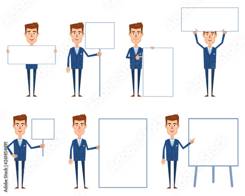 Obraz Set of businessman characters posing with different blank banners. Cheerful businessman with paper, poster, placard, pointing to whiteboard, teach, advertise, promote. Flat vector illustration - fototapety do salonu