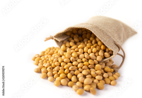 Raw dried soybeans in a sack on white background. Wallpaper Mural