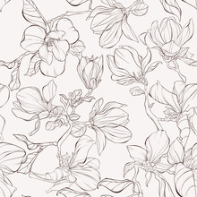 Seamless Pattern, Background With Blooming Magnolia Flowers. Outline Drawing.