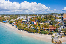 Scenic Aerial View Of La Datcha Beach (Le Gosier Plage) In Guadeloupe. Beautiful Summer Sunny Look Of Small Paradise Tropical Island In Caribbean Sea. Several Boats And Yachts In Blue Sea.
