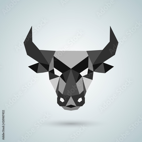 Photo Polygonal vector bull head