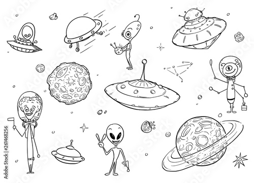 Fotografie, Tablou Set of Cartoon Alien Monster Characters , UFO Space Ships and Planets