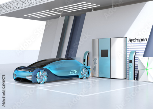 Fuel Cell powered autonomous car filling gas in Fuel Cell Hydrogen Station. 3D rendering image. - 261469075