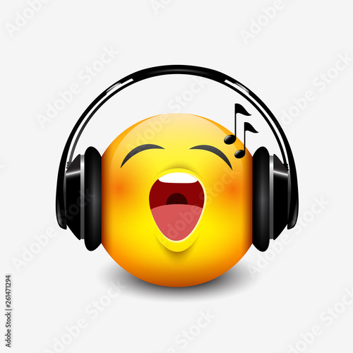 Cute singing emoticon with black headset, emoji