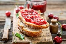 Closeup Of Fruity Sandwich Wit...