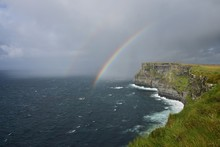 A Double Rainbow Over The Cliffs Of Moher In Ireland.