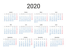 2020 Year French Calendar In F...
