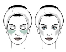 Spa Woman Applying Facial Clay Mask. Eye Patches Smoothing Deep Wrinkles. Beautiful Woman Portrait. Beauty Treatments. Vector Illustration.