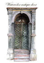 Watercolor Drawing Of A Beautiful Old Door