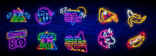 Neon 80's Collection Neon Signs Vector. Back To The 80s Design Template Concept. Neon Banner Background Design, Night Symbol, Modern Trend Design. Vectro Illustration