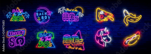 Neon 80's collection neon signs vector Canvas Print
