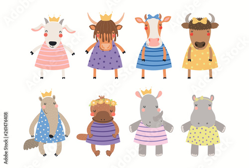 Big set of cute funny animal girls in dresses. Isolated objects on white background. Hand drawn vector illustration. Scandinavian style flat design. Concept for children print.