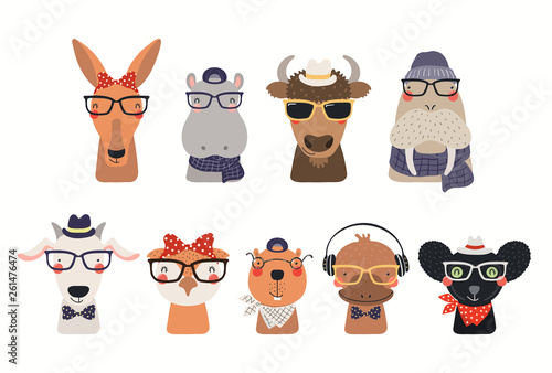 Big set of cute hipster animals in hats and glasses. Isolated objects on white background. Hand drawn vector illustration. Scandinavian style flat design. Concept for children print.