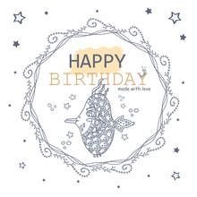 Line Art Happy Birthday Card. ...