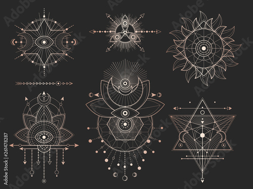 In de dag Boho Stijl Vector set of Sacred geometric symbols and figures on black background. Gold abstract mystic signs collection.