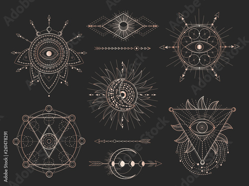 Door stickers Boho Style Vector set of Sacred geometric symbols and figures on black background. Gold abstract mystic signs collection.