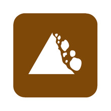 Brown Falling Rocks Recreational Sign