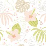 Piękny lato tropikalny i bezszwowy wzór. Tropikalne i egzotyczne kwiaty i liście to pastelowe delikatne kolory. Rośliny w stylu skandynawskim i doodle. Do tkanin, powierzchni, tekstyliów, scrapbooki - 261479804