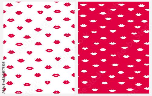 Cuadros en Lienzo Lovely Abstract Lips Seamless Vector Pattern
